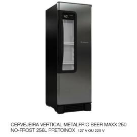 01 Cervejeira Vertical Metalfrio Beer Maxx 250 No-Frost 256L PretoInox 127V
